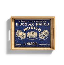 Bandeja madera retro H. Casimiro Mahou Azul