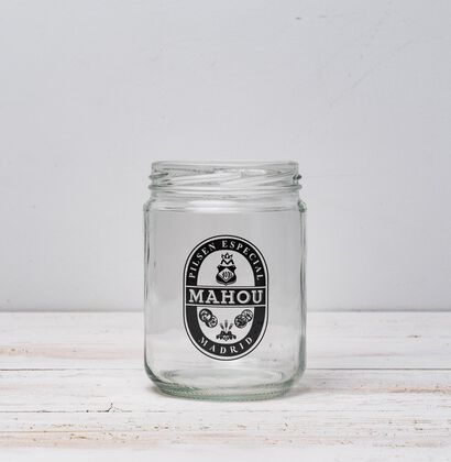 Tarro Mahou 1934 de cristal Blanco